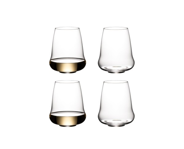 SL RIEDEL STEMLESS WINGS RETAIL RIESLING / CHAMPAGNE GLASS 4 PACK